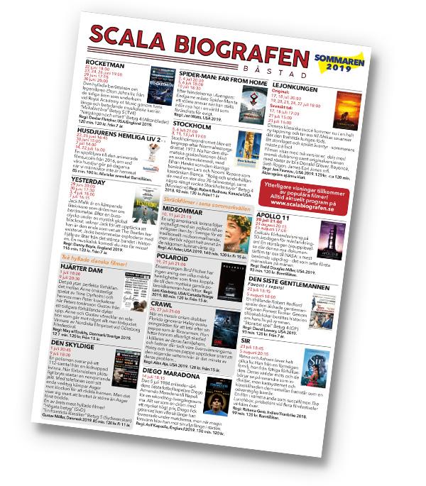 Programmet för Scala Biografen, sommaren 2019