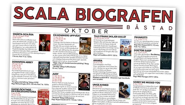 Programmet för Scala Biografen, september - oktober 2019