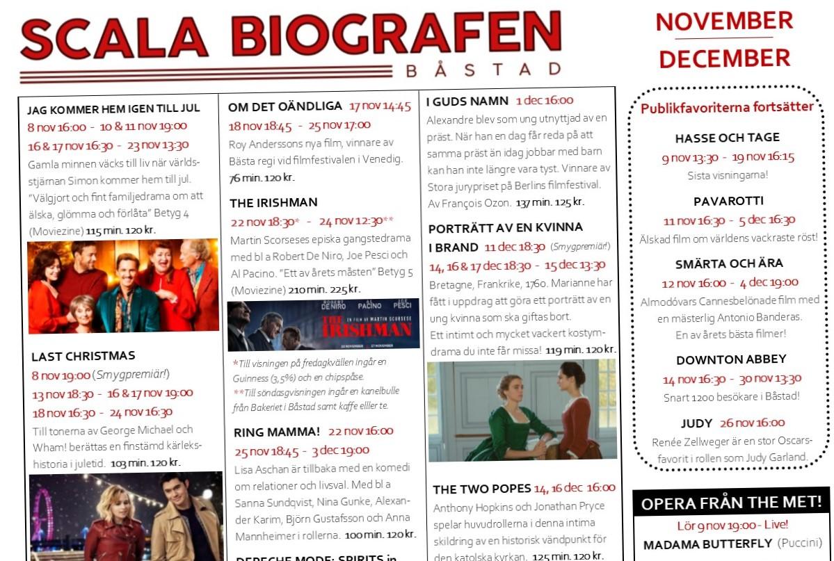 Programmet för Scala Biografen, november 2019