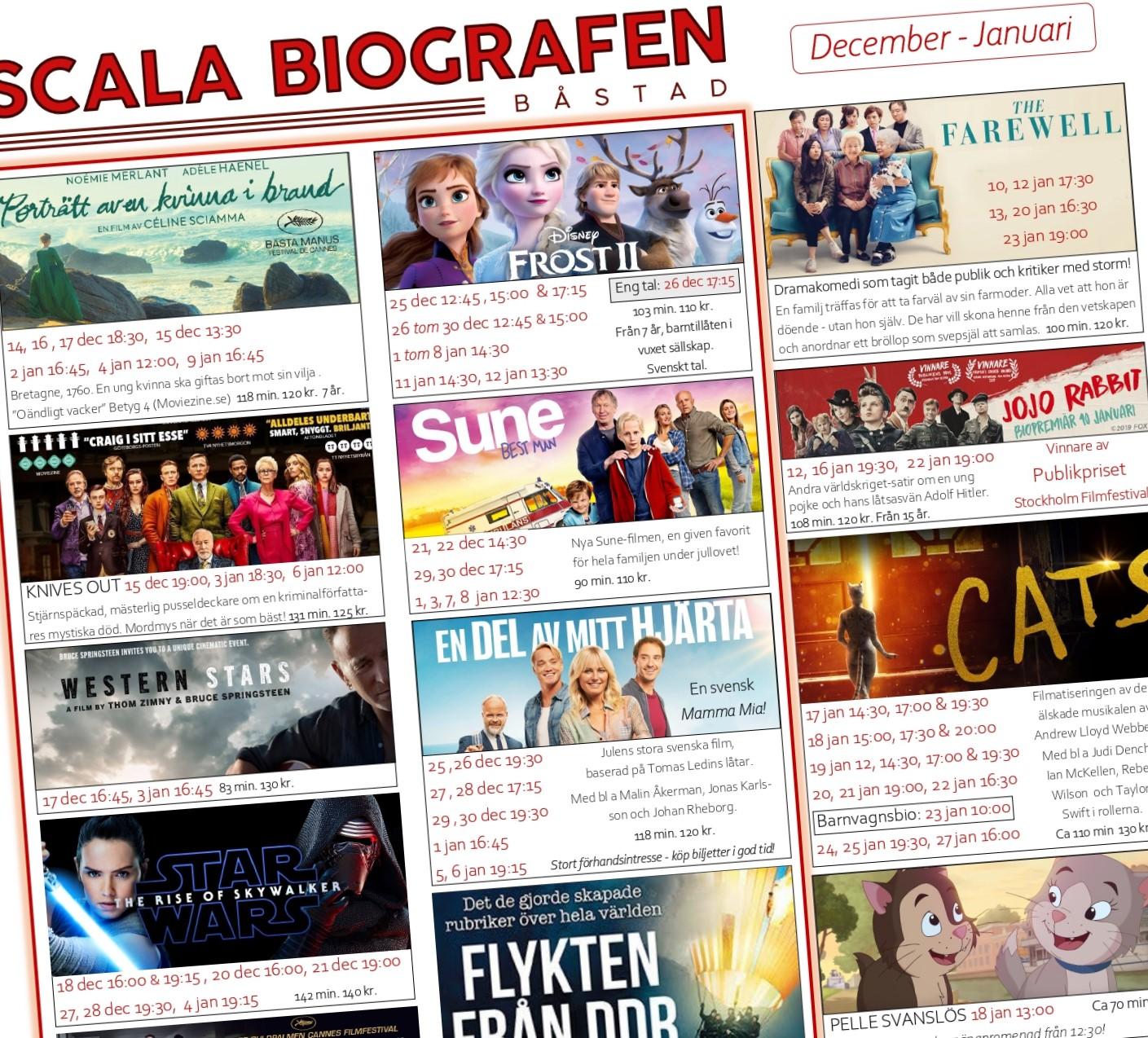 Programmet för Scala Biografen, Jul/Nyår & Januari