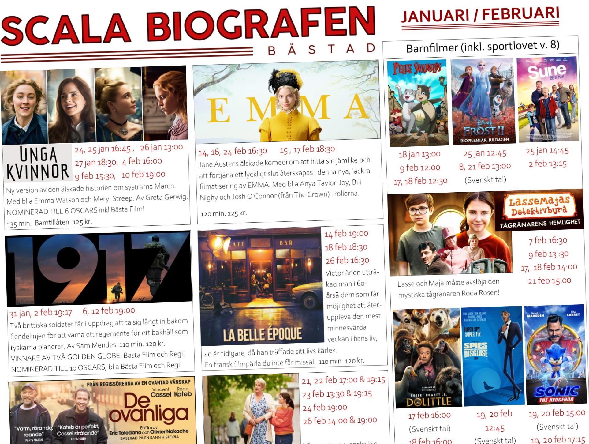 Programmet för Scala Biografen, Januari/Februari
